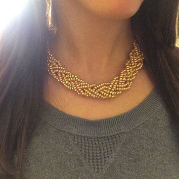 Gold Statement Necklace, Gold Necklace, Statement Necklace, Braided Necklace, Boho Necklace, Bright Gold Statement Necklace, Handmade
