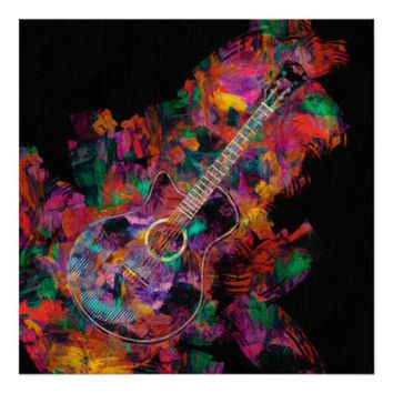 Guitar Painting Poster