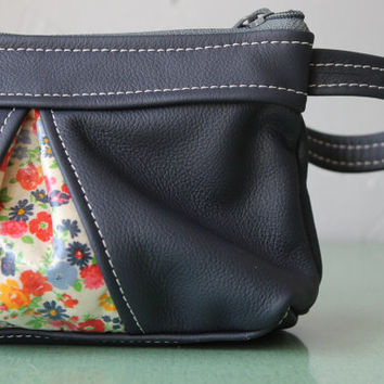 Leather Clutch, Handmade leather wallet, soft leather purse, small leather purses, navy blue leather wristlet, vintage floral cotton accent