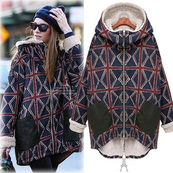 Echoine 2017 Winter Thick Warm Women Coat Fashion Plaid Velvet Full Sleeve with Hat Women Casual Outwear Jacket Coat