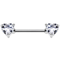 Clear Cubic Zirconia Heart Front Gem Nipple Barbell | Body Candy Body Jewelry