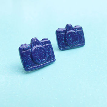 Blue Glitter Camera Stud Earrings - Blue Sparkle Retro Style Camera Post Earrings - Custom Colors Available - Polymer Clay