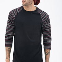 Tribal Print Paneled Raglan Tee