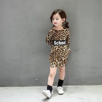 Girls leopard dress fashion slim long T-shirt bottoming Tops children's letters princess dress clothing