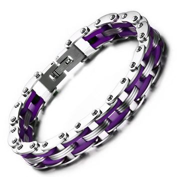 Silicon Woman & Man Bracelet Stainless Steel Motorcycle Biker Link Chain Retro Bracelet High Quality Accessories