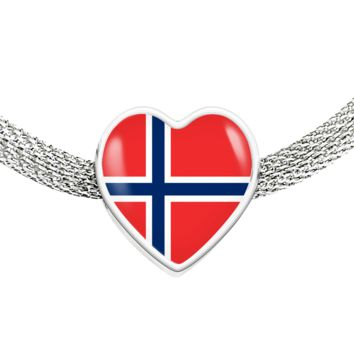 Norwegian Pride - Luxury Heart Charm Bracelet