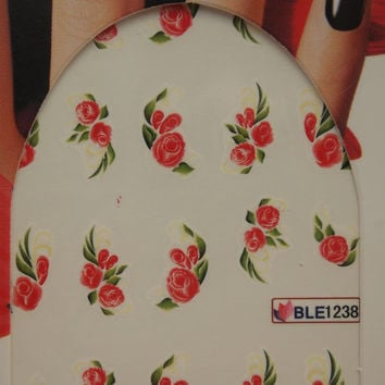 Nail art water decals Floral nail decals Water nail transfers Red rose decals