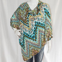 Ikat Poncho/ Full Coverage Nursing Cover/ Nursing Shawl/ Off the shoulder top/ Modern Poncho/ New Mom Gift