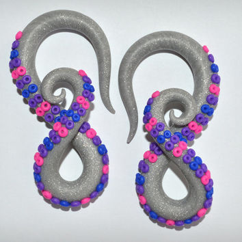 Twinkle Grey Octopus Tentacles Gauges and Fake Gauge Earrings / Fakers - Faux Gauges or Ear Plugs