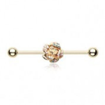 Golden Gleam Rose Blossom Industrial Barbell