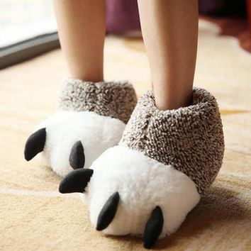Fashion 2017 Indoor Cotton Padded Plush Cartoon Bear Claw Non-slip Slippers Home Cotton Slippers Floor Shoes