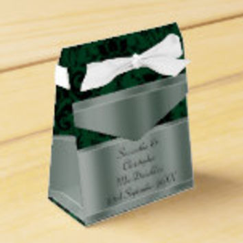 Black and green damask wedding party favor box