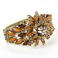 Brown Rhinestone Multi-Petal Blossom Hinged Bangle | zulily