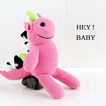Stuffed Dinosaur, Stuffed Animal, Handmade  sock doll baby stuffed toys, pink, from Enchanted Forest   Ready to Ship