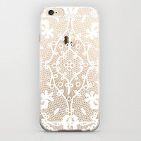 Minimal White Henna iPhone 6 Case Handmade Vintage Styled Design Cell Phone Plastic Case Aztec Pattern Tribal iPhone 6 Case White and Clear