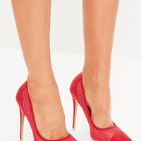 Missguided - Red Mesh Pointed Pumps