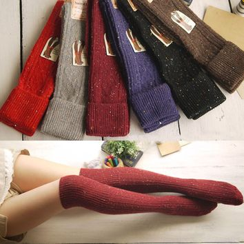 1 Pair Winter Over The Knee Socks Sexy Warm Thigh High Long Knit Cotton wool Cute Stockings For Girls Ladies Women 6 Solid Color