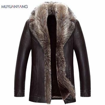 Men Faux Fur Leather Coat For Male Casual Faux Leather Faux Leather Coat Overcoat