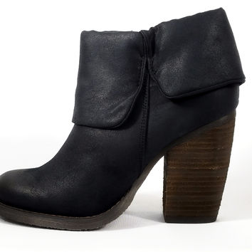 Brush Up Fold Over Bootie Black Distressed Leatherette Block Heel