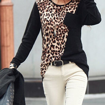 Black and Leopard Patch Pocket Long Sleeve Blouse