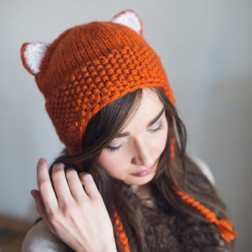 Hand knitted Orange Reddish Fox beanie, hat, cap. Wool and mohair