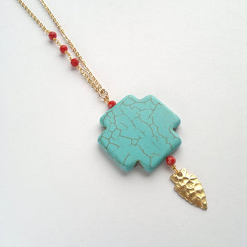 Long Turquoise Cross Pendant Arrowhead Necklace Red Beads Pendant Rosary Necklace Turquoise Jewelry Chunky Cross Jewelry Boho Stone Pendant