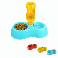 Dual Port Dog Cat Utensils Bowl Water Dispenser Food Dish Feeder