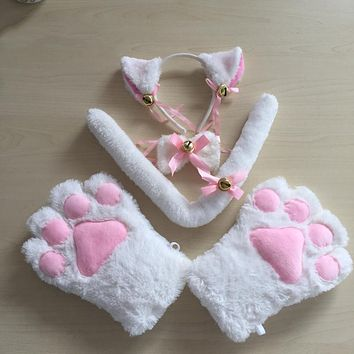 Cute Anime Cat Cosplay Fuzzy Soft & Plush Ears, Paw Gloves, Tail & Bow / 5 piece