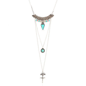 Hot Sale Fashion Jewelry Retro Green Turquoise Women Pendant Necklace Multiple Layers Necklace Bohemian Chain Long Necklace N002