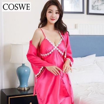 COSWE New Wedding Bridesmaid Robe Womens Bath Robes Set Silk Female Lace Kimono Sleepwear Suit Sexy Dressing Gowns Home Clothing