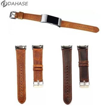 ac spbest Brown Coffee Genuine Leather Wrist Strap for Fitbit Charge 2 Watch Band Bracelet for Fitbit Charge 2 Wristband with Connector
