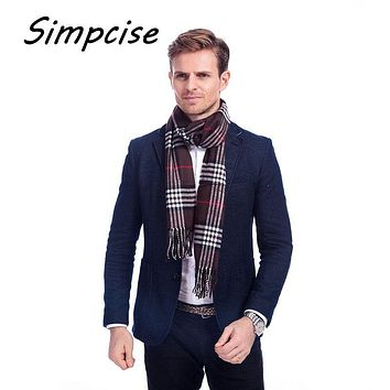 [Simpcise] Famous Brand Design New Men Warm Soft Cashmere Acrylic plaid TARTAN SCARF Checked Scarf Coffee A3A17538