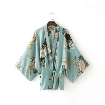 Japanese Kimono Cardigans Women 2017 Summer Fashion Waist Lace-up Floral Print Blouse Shirt Kimono Jacket Loose Casual Outerwear