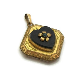 Vintage Art Deco 1/20 10KGF Gold Filled Black Onyx Locket Pendant Signed F.M. CO Finberg Manufacturing Co Square Heart Locket 1930s Jewelry