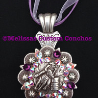 Barrel racer concho necklace. Amethyst and Crystal AB Swarovski crystals. Comes with a matching 18 inch ribbon cord.