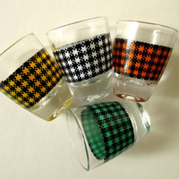 Shot Glasses 60s Barware vintage 1960s Mad Men era cocktail party houndstooth check wedding gift hostess gift housewarming gift den man cave
