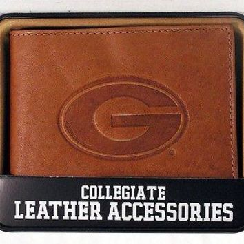 Georgia Bulldogs Embossed Leather Billfold Wallet NEW in Gift Tin