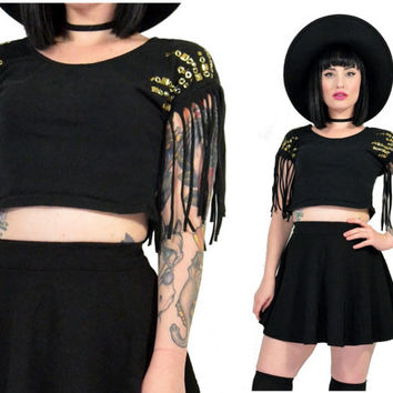 vintage 90s black grunge crop top fringed festival studded shirt soft grunge small