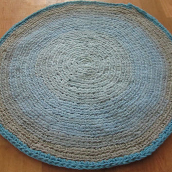 OOAK Upcycled Crochet T Shirt Rug. Custom Rug. Made to Order