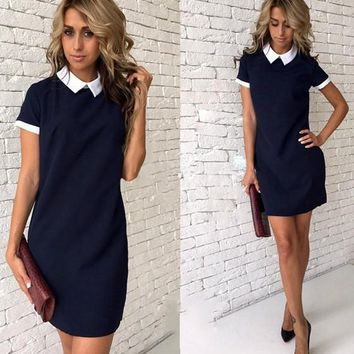 Sapphire Blue Zipper Turndown Collar Short Sleeve Mini Dress