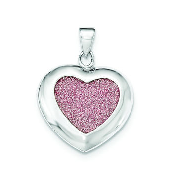 Sterling Silver Polished Pink Glitter Infused Heart Pendant QP4231