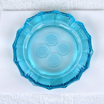 """Fostoria Blue Frosted Coin Glass Ashtray / 8"""" Across / Excellent Condition / Gorgeous"""