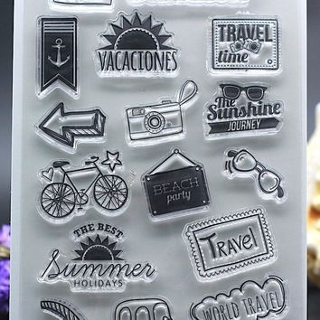 CLEAR STAMPS DIY Scrapbook Card album paper craft silicon rubber roller transparent stamp travel summer vacation holiday 11x16cm