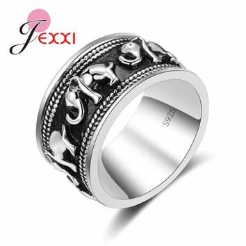 JEXXI Vintage Black 925 Sterling Silver Jewelry Simple Style Elephant Shape  Engagement Rings For Men & Women lord Wedding