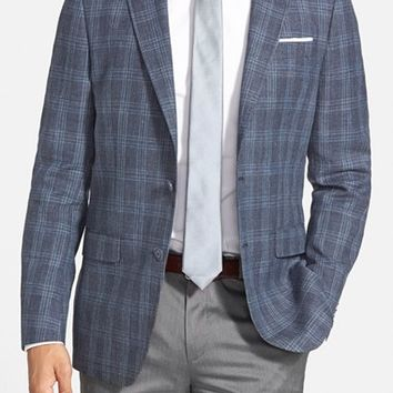 Michael Kors Trim Fit Check Linen & Wool Sport Coat,