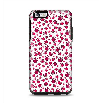 The Red & White Paw Prints Apple iPhone 6 Plus Otterbox Symmetry Case Skin Set