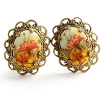 Vintage Gold Tone Flower Clip On Earrings - Sugar Textured  Costume Jewelry / Orange & Yellow Florals