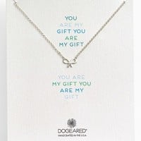 Women's Dogeared 'Reminder - You Are My Gift' Boxed Bow Pendant Necklace