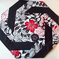 Quilted Table Topper Plus 2 place mats - 3 piece set - Black White Red  Floral Print - Reversible