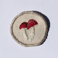 made to order - two little mushrooms - hand embroidered sew-on nature patch or badge